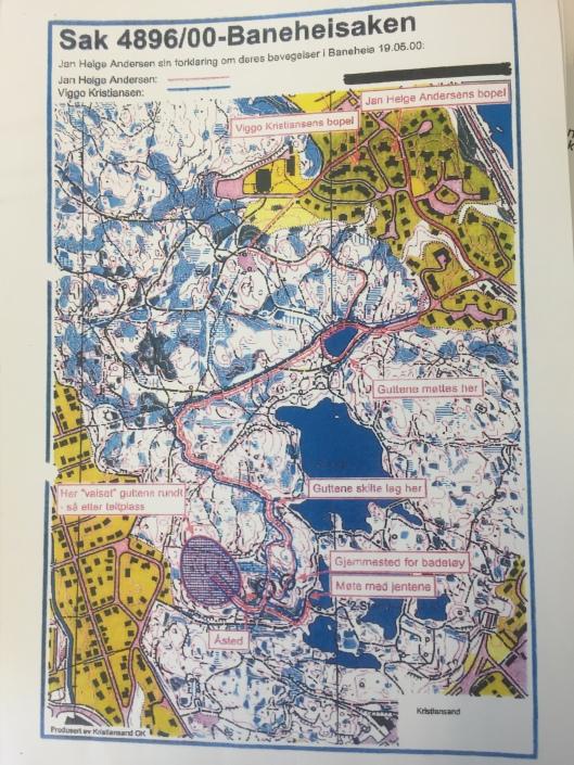 Kart over Baneheia med inntegnet trase